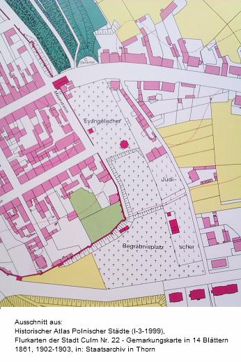 Lage des evangelischen und jüdischen Friedhofs in Culm (Chelmno) laut Katasterplan 1861-1903